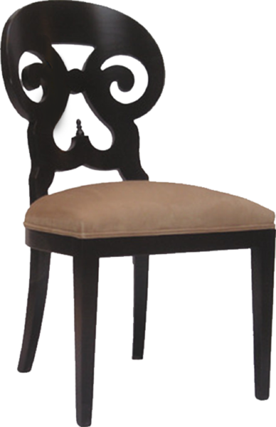 FD228 – Dining Upholstered Ram Horn Wood Side Chair