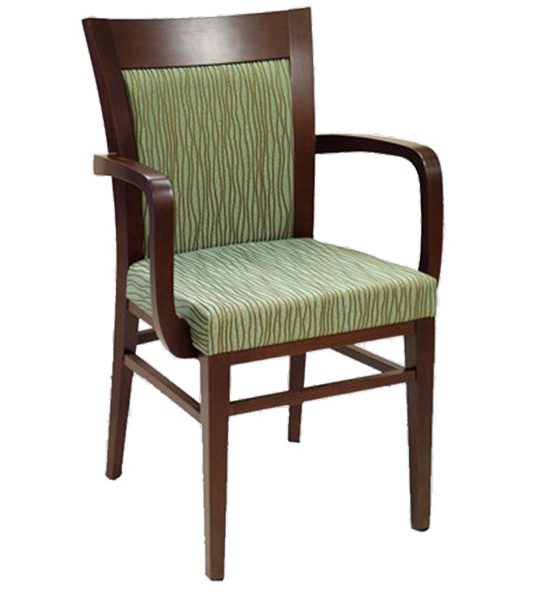 Dining Upholstered Flared Back Wood Arm Chair FD236