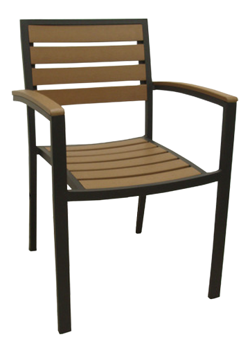 SF220 – Aluminum Slat Back Stacking Arm Chair
