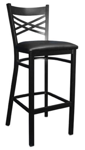EB671 – Import Cross Strap Back Metal Bar Stool