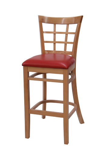 EB690 - Import Flared Windowpane Wood Bar Stool